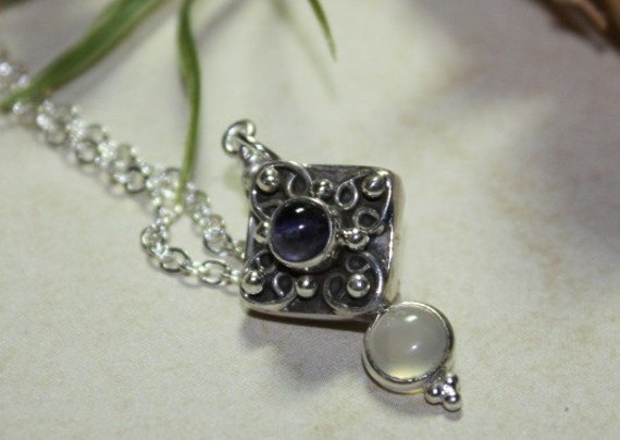 Moonstone, Sterling Silver and Amethyst Pendant necklace Free U S A Shipping