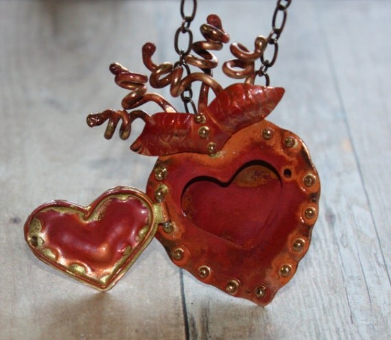 SALE Was 60 Now 30 A Wild Flaming Copper Heart Locket Pendant necklace