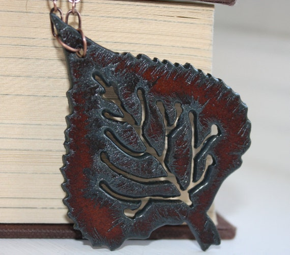 Rustic Iron Fall Leaf Pendant necklace Free U S A Shipping