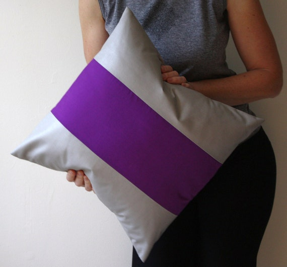 Purple and Grey Decorative Throw Pillow Cover 18 x 18 Color