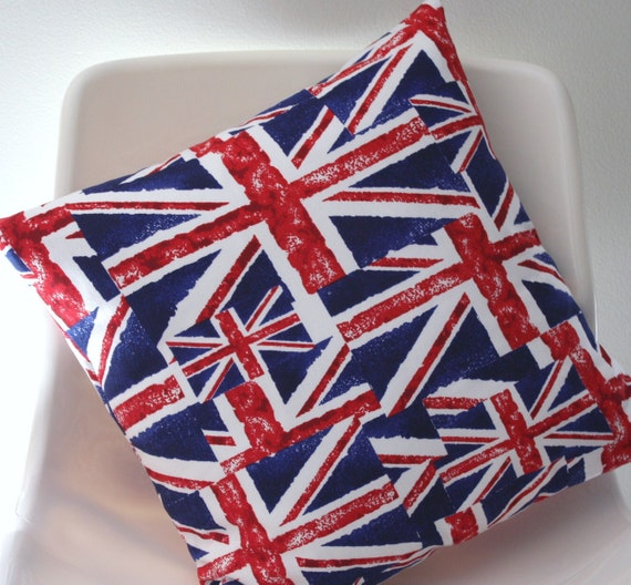Union Jack pillow cover, red white and blue flag 16 x 16, British