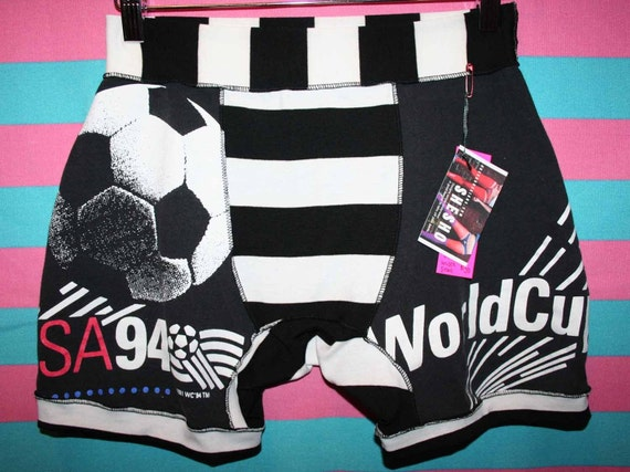 UNISEX mens SM WORLD CUP USA 1994 VINTAGE upcycled SOCCER black white STRIPED boxer briefs ONE OF A KIND HANDMADE UNDERWEAR
