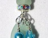 Sea Glass Necklace Pendant Aqua Seafoam  N-29