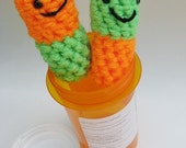 Neon Happy Pills .. Amigurumi Stuffies in Orange and Lime