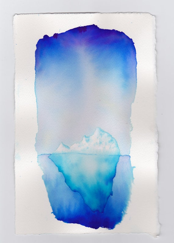 Iceberg watercolor painting by mikeboston on etsy for How paint on canvas