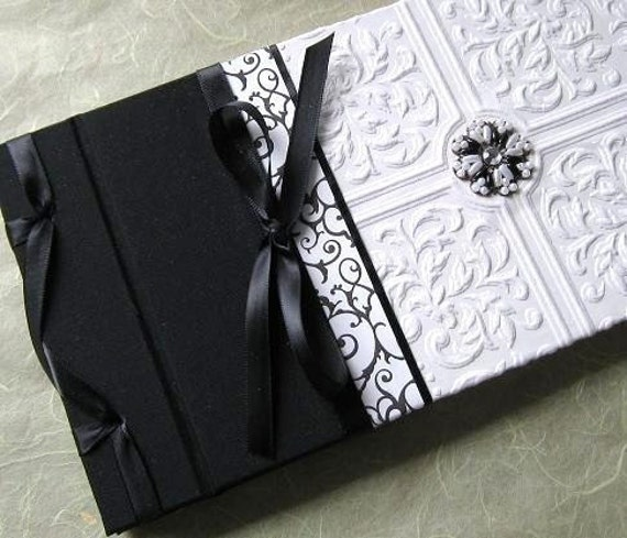 Wedding Guest Book & Pen Vintage Textured Paper - Gothic Inspired  Black and White with Handstitched Beading