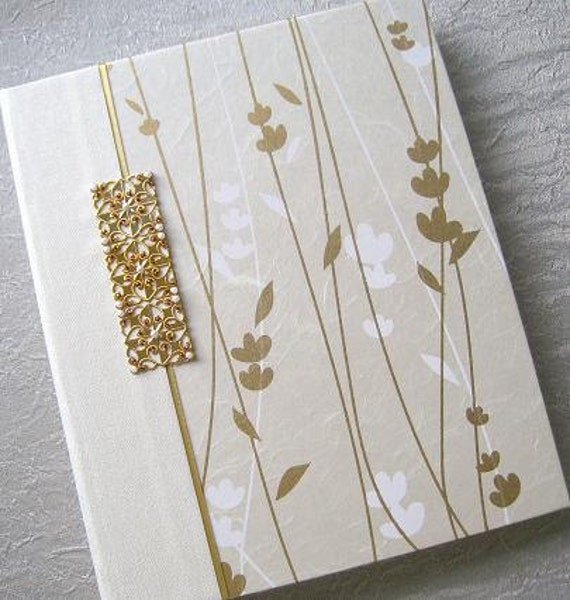 Ivory and Gold Wedding Photo Album Handmade Hand stitched beading Golden Stems 8x10 Archival MADE TO ORDER