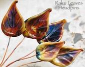 6 Raku Leaves Head Pins Set, Earthy colors, Glass Headpins, Handmade lampwork glass headpins by Beadfairy Lampwork
