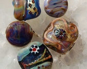 Sale, 5 handmade lampwork glass beads, focal beads, golden sparkle and different shapes, by Beadfairy Lampwork, SRA