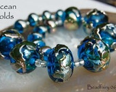 Ocean Golds,  lampwork glass beads, set of 17 beads, Hollows and rounds, aqua blue with gold by Beadfairy Lampwork, SRA