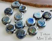 13 Triton Mini Tabs Lampwork Beads Metallic Blue Silver Handmade Beads by Beadfairy Karin Hruza SRA