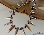 16 Golden Spikes Handmade Lampwork Beads Glass Beads by Beadfairy Lampwork
