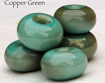 Copper Green, 25 round handmade glass beads, green copper patina spacer by Beadfairy Lampwork, SRA
