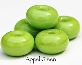 Apple Green, 25 round handmade glass beads, yummy green spacer by Beadfairy Lampwork, SRA