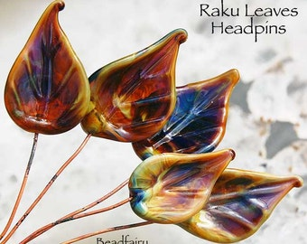 6 Raku Leaves Head Pins Set, Earthy colors, Glass Headpins, Handmade lampwork glass headpins by Beadfairy Lampwork