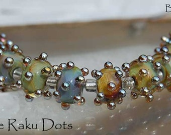 1 Pair Aurae Raku Dots, handmade glass beads, cool earthy color encased with bumpy gold dots choose your quantity by Beadfairy Lampwork, SRA