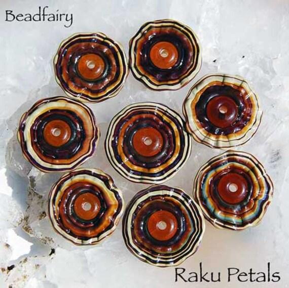 7 Raku Flower Petals, handmade silver glass beads, cream brown petal beads, by Beadfairy Lampwork, SRA