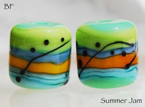 Summer Jam, 2 green, blue and yellow orange handmade glass beads, barrel beads by Beadfairy Lampwork, SRA