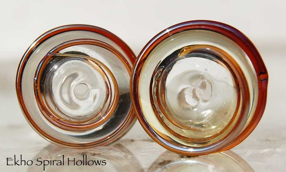 Ekho Spiral Hollows, 2 handmade hollow glass beads, lampwork beads by Beadfairy Lampwork, SRA