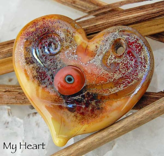 My heart,  1 focal bead, earthy Flat Heart lampwork bead with fine silver foil by Beadfairy Lampwork SRA