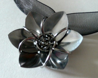 Stainless Steel Dragon Scale Flower Pendant with Black Ribbon
