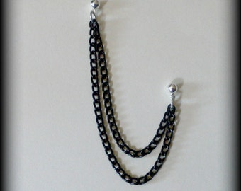 Black Double Chain Cartilage Earring