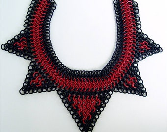 Vampire Lace Black and Red Chainmail Necklace