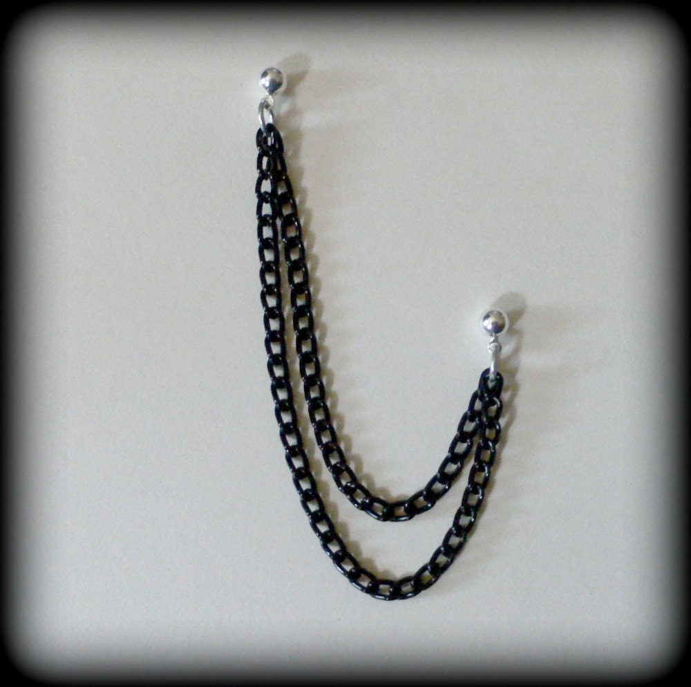 black chain cartilage earring by dragonrose on etsy