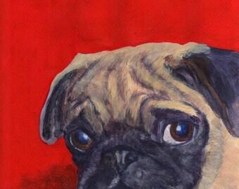 Pug on red PRINT