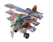 Whirlygig Recycled Aluminum Can Artplane - TRI PLANE - Airplane - Coors Light