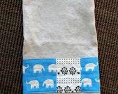 Linen hand towel with Elephants