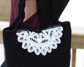 Doily Delia, the French Maid Bag - Knitted, Felted and Embellished