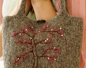 Cherry Bloosom Tree Bag - hand knit, felted and ornately embroidered