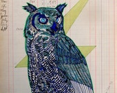 Original Ink Blue Owl with Lightning Bolt Illustration on Recycled Vintage ledger paper