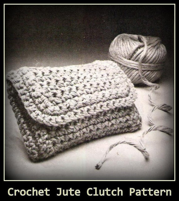 Vintage Crochet Clutch Pattern : Vintage Crochet Jute Clutch Pattern-Pocket Book by gemrockshop