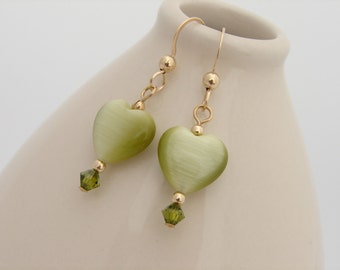 Heart Earrings Spring Green Cats Eye Heart Crystal and Gold Filled