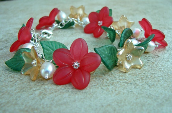 Lucite Flower and Leaf Bracelet with Sterling Silver, Pearls, Crystals and Glass Flower Beads Red, Green and White