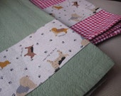 Green Tea Towel with Cute Dogs