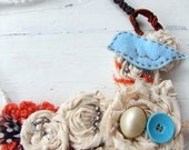Necklace. Blue Bird, Flowers, Fabric Bib Statement Jewelry, Whimsical Wearable Art Necklace by AutumnArt on Etsy