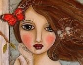 Flutter - Girl and Butterfly Art - 10 inch x 10 inch Art Print