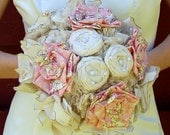 RESERVED Fabric Bouquet - Weddings, Fabric Bouquet - Cotton Roses Wedding Bridal Bouquet, Wedding Flowers, Wedding Accessory