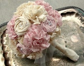 Handmade Bride Bouquet, Weddings, Pink Rose Fabric Bridal Bouquet