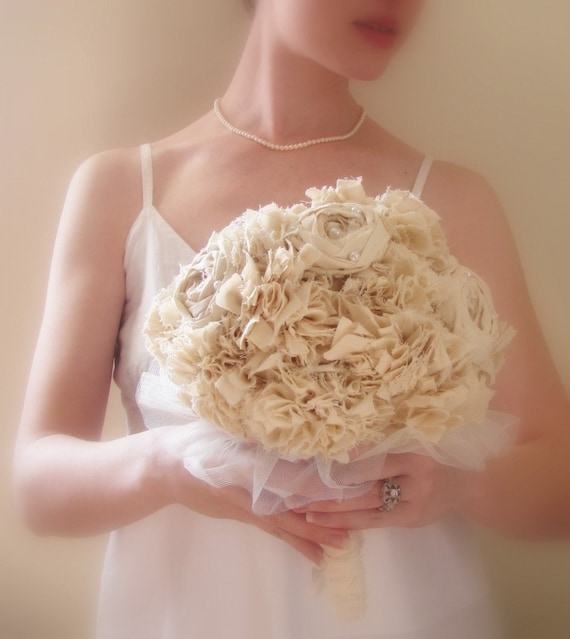 Handmade Fabric Bouquet, Vintage Flower Bouquet, Unique Fabric Flower Bridal Bouquet