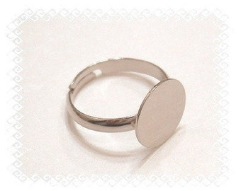 Adjustable Ring Blank, 10 Silver Tone 12mm Glue Pad Adjustable Ring Blanks
