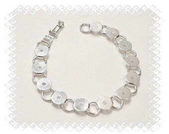 Bracelet Blanks, 5 Silver Plated Round Glue On Pad Bracelet Blanks - Perfect for Glass , Buttons , Typewriter Keys and More