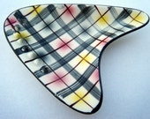 Mid Century Atomic Boomerang Ashtray  Plaid Pink Black Yellow