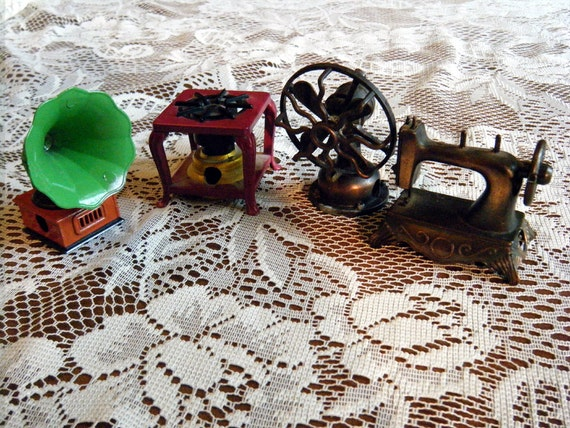 Instant Collection of Vintage Miniature Die Cast Pencil Sharpeners Fan Victrola Sewing Machine and Burner