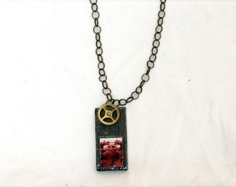 Upcycled Steampunk Monster Pendant