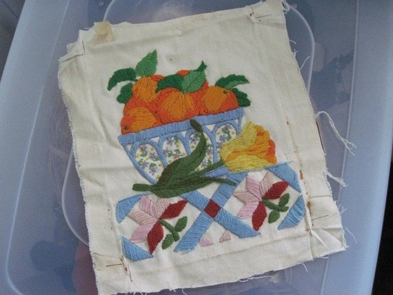 Vintage Oranges Fruit Bowl Needlepoint Material
