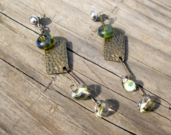 Brass assemblage earrings,  with lampwork on sterling post backs